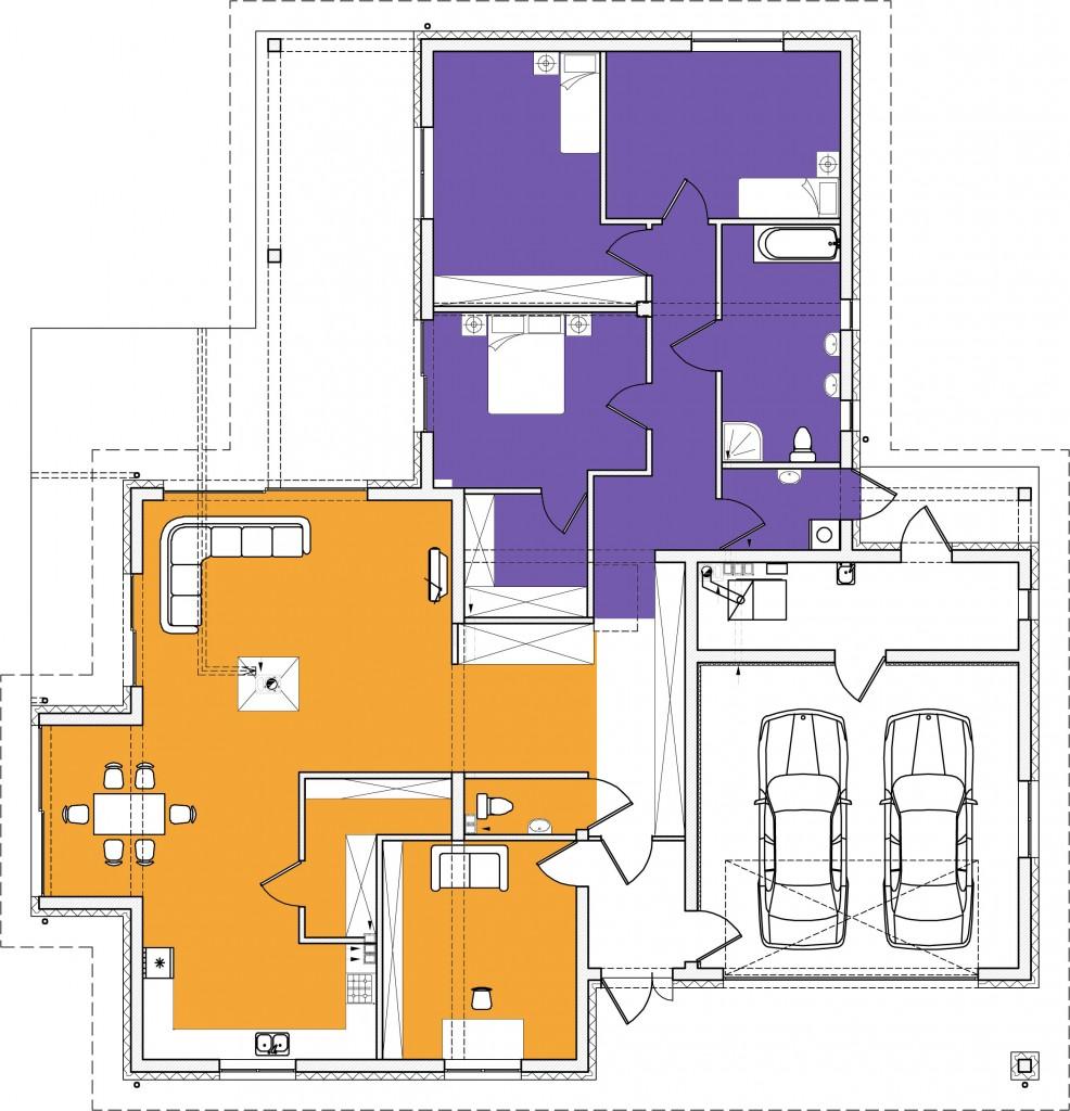 Dom jednorodzinny - 3 strefy